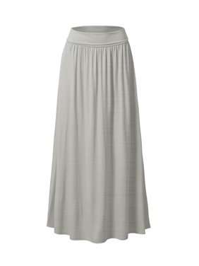 Doublju Women's Fold High Waist Ruched Maxi Skirt with Plus Size