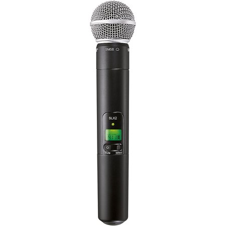 Shure SLX2/SM58-H5 Handheld Wireless UHF Transmitter with SM58 Microphone, H5 Band (518-542 (Shure Sm58 Dynamic Vocal Microphone)