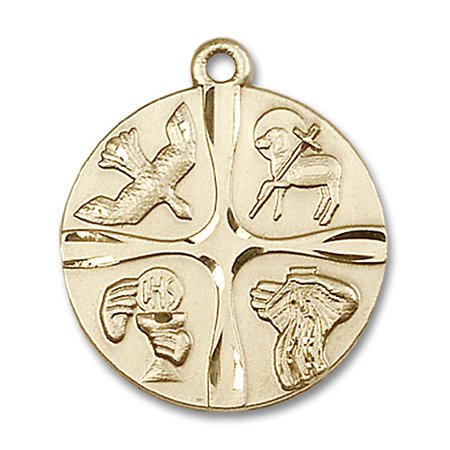 - 14kt Yellow Gold Christian Life Medal 1 x 7/8 inches