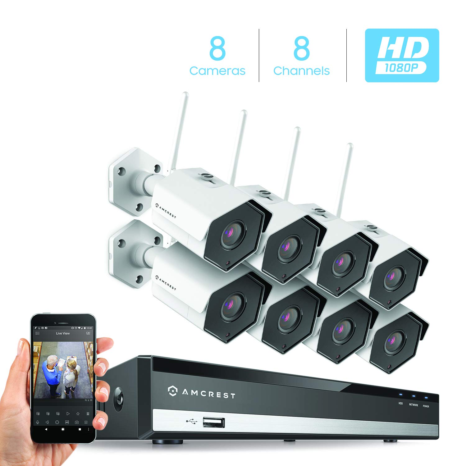 Amcrest 8CH Plug & Play H.265 6MP NVR 2MP 1080P Security Camera System, (8) x 2-Megapixel 3.6mm Wide Angle Lens Weatherproof Metal Bullet Wi-Fi IP Cameras, 98 Feet Night Vision (White)