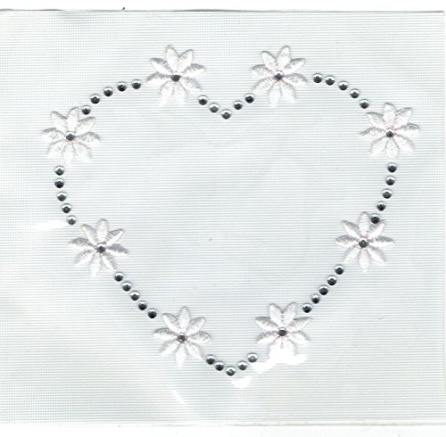 Heart with White Daisy Flowers - Rhinestones - Iron On Applique Transfer