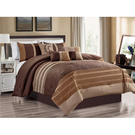 7-Pc Dahlia Tropic Floral Damask Scroll Embossed Pintuck Stripe Comforter Set Brown Tan Coffee Queen Tan Comforter Set