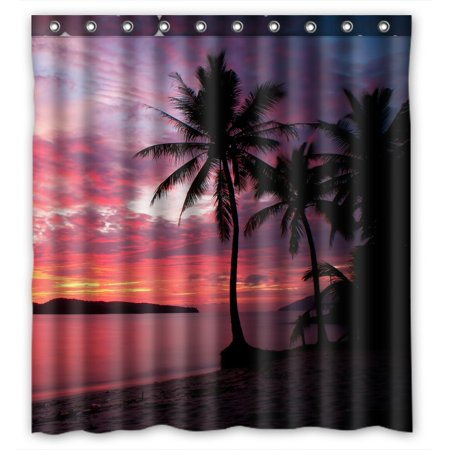 PHFZK Seascape Shower Curtain Sunset With Birds Palms At Rebak Island Langkawi Malay Polyester Fabric