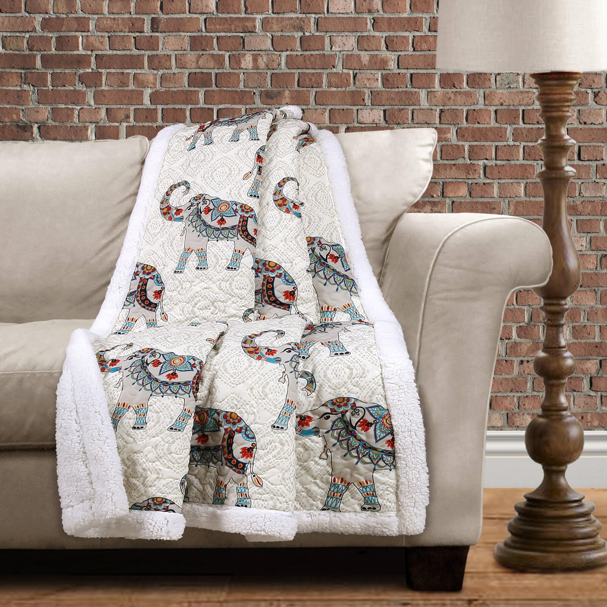 Essential Living Hati Elephants Soft Sherpa Throw Blanket