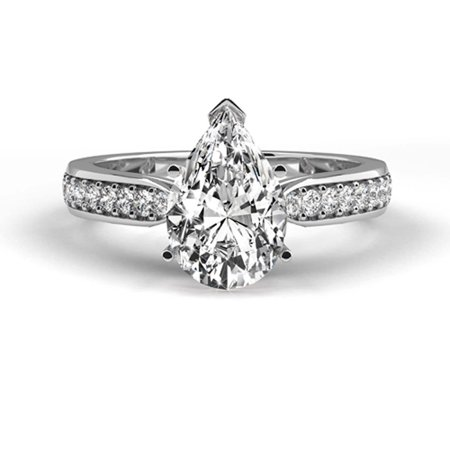 Platinum Ring Natural Certified Diamond 1.25 Carat Weight Pear Shaped G (Best Trousers For Pear Shaped)