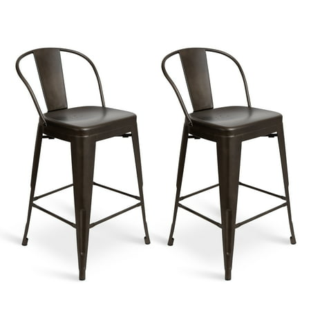 Remarkable Kate And Laurel Welborn Counter Height Set Of 2 Metal Stools With Backrest Dark Pewter Gray Forskolin Free Trial Chair Design Images Forskolin Free Trialorg