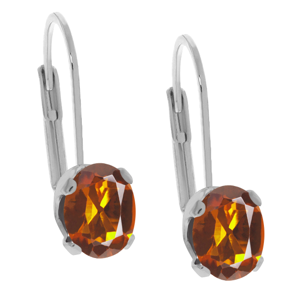 1.40 Ct Oval Orange Red Madeira Citrine 925 Sterling Silver Earrings