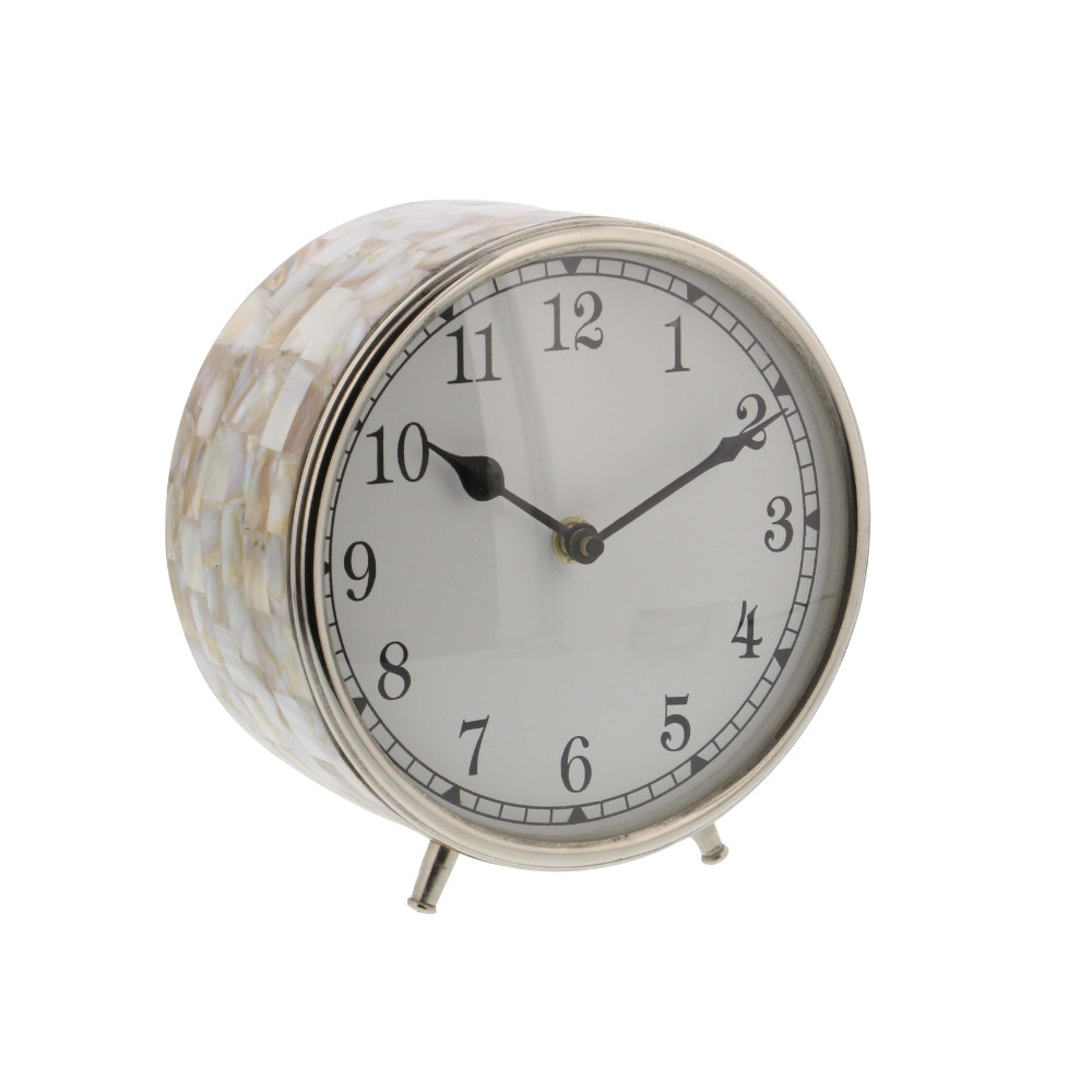 Beautifully Textured Stainless Steel Inlay Table Clock by Benzara