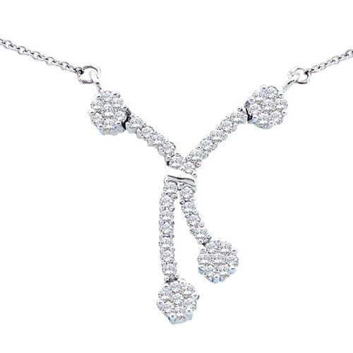 14K White Gold 0.50ctw Fancy Sleek Pave Diamond Fashion Bridal Flower Necklace