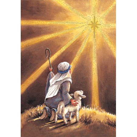 Designer Greetings Shepherd Sees Star Box of 18 Religious Christmas Cards