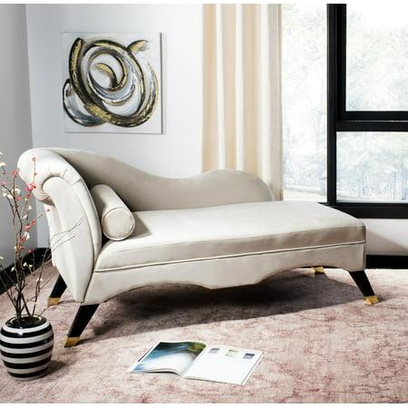 Safavieh Caiden Retro Chic Velvet Chaise with Pillow Dark Brown Chaise