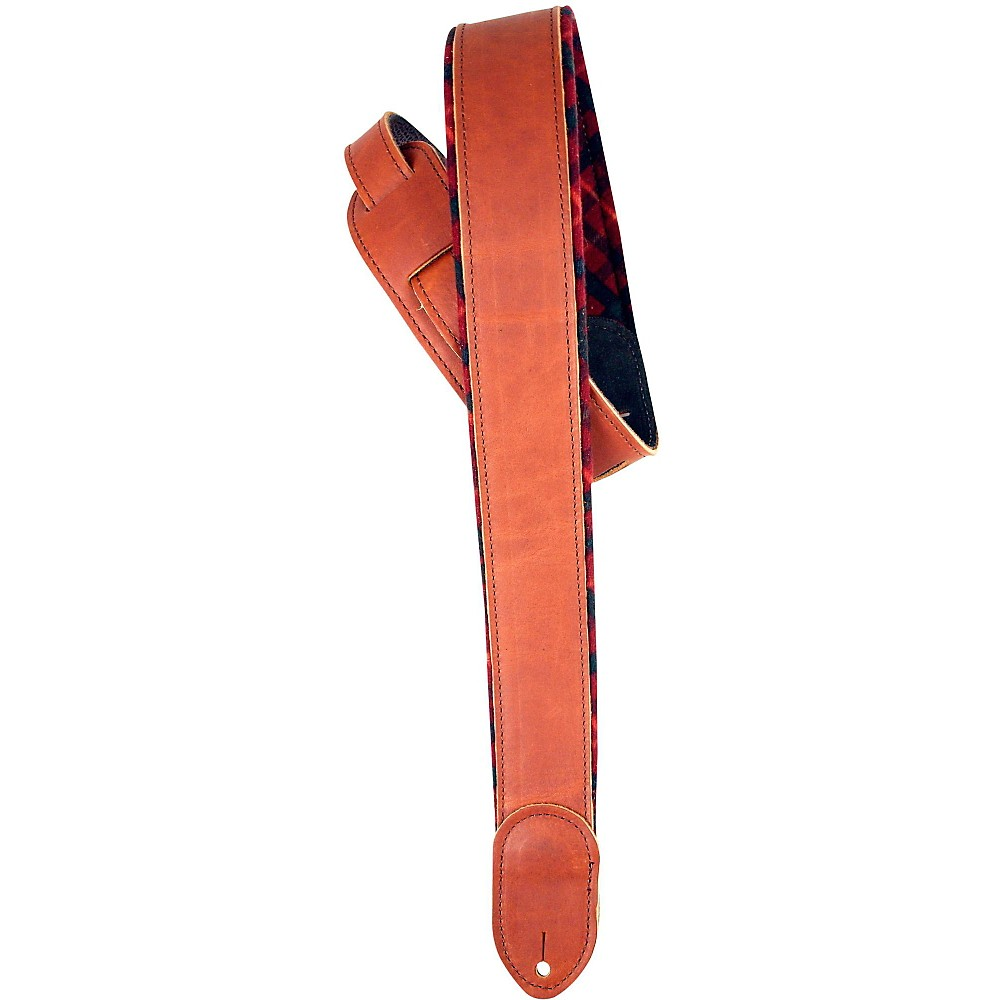"LM Products 2"" Brown Ballglove Flannel Reversible Guitar Strap Red by LM Products"