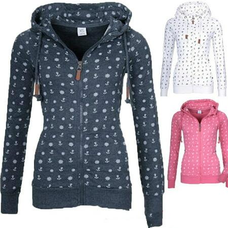 Women's Hooded Fleeces Hoodie Oversize Coats Sea Anchor Print Zipper Sweater Jumper Casual Sweatshirt Tops