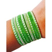 Lime green colored sparkly snap bracelet to securely conceal fitbit fitness activity trackers.  Size XS, for wrists measuring 5.8 inches and smaller.