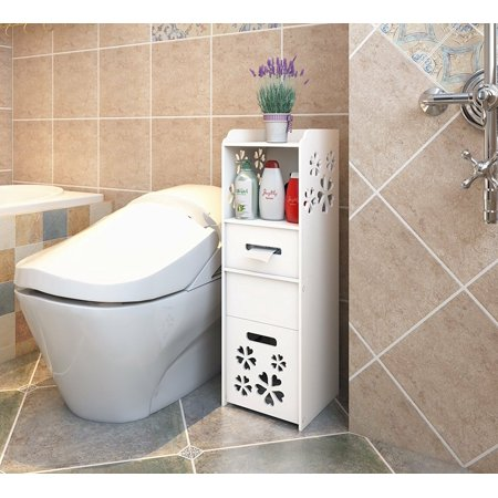 UBesGoo Small Bathroom Storage Corner Floor Cabinet with Shelves, Thin Toilet Vanity Cabinet, Narrow Bath Sink Organizer, Towel Storage Shelf for Paper Holder, White ()