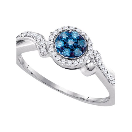 10kt White Gold Womens Round Blue Color Enhanced Diamond Cluster Ring 1/4 Cttw - image 1 of 1