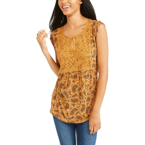 Faded Glory Women's Allover Print Cap Sleeve Peasant Top With Embroidered Detail by