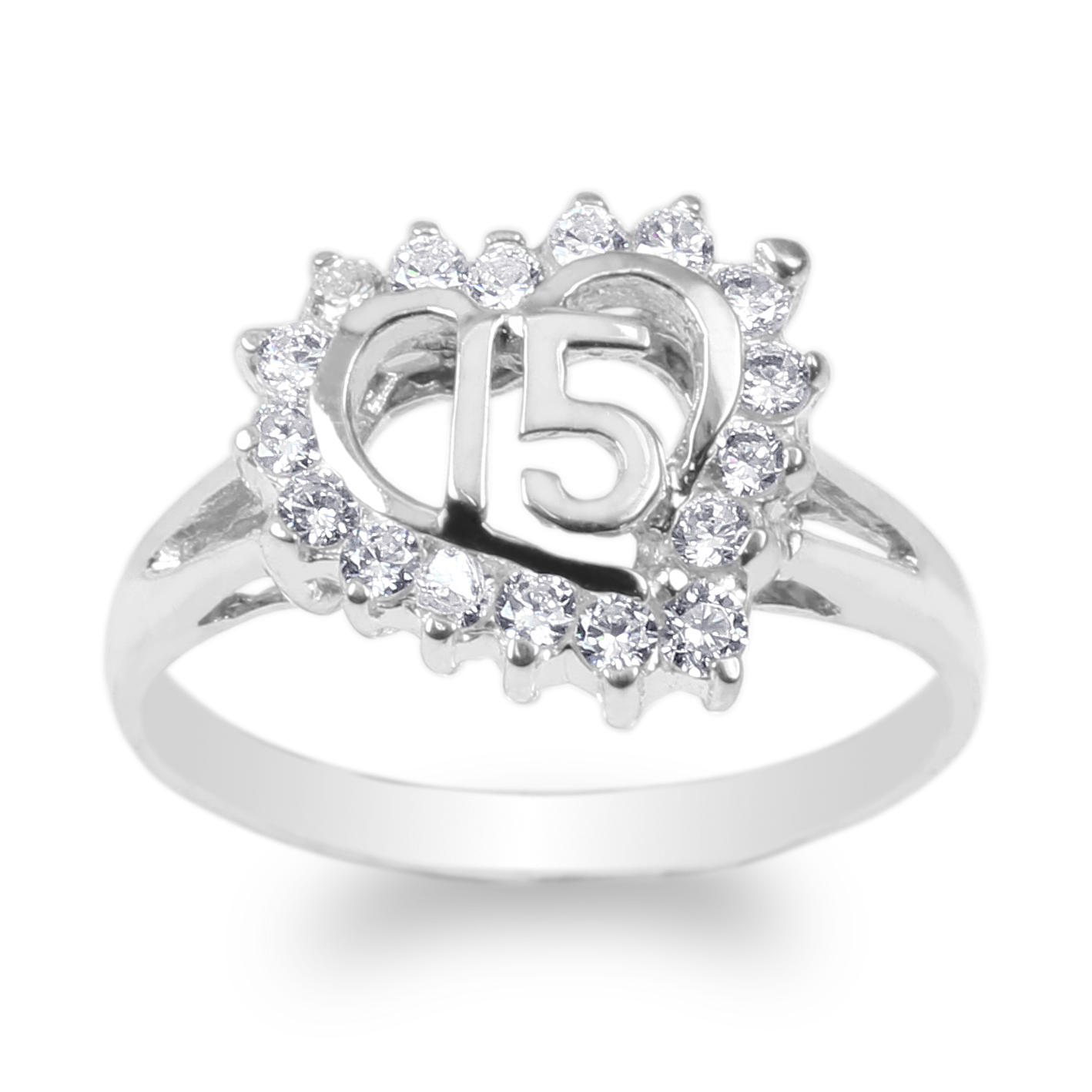 JamesJenny White Gold Plated 15 Anos Quinceanera Heart Ring Size 4-9