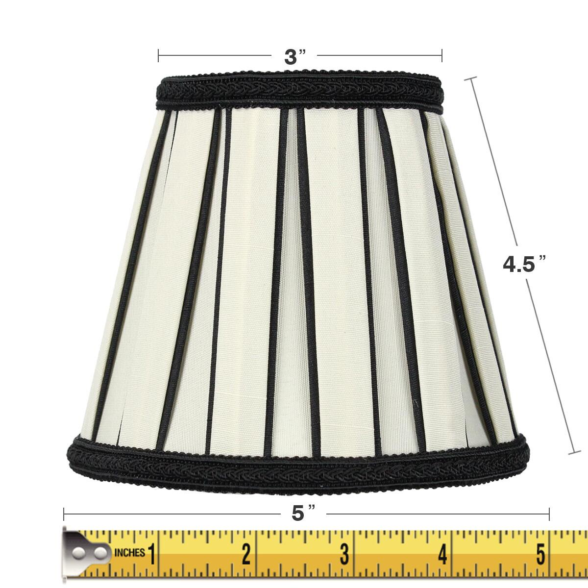 3x5x5 Eggshell with Black Chandelier Clip-On Lampshade by Home Concept