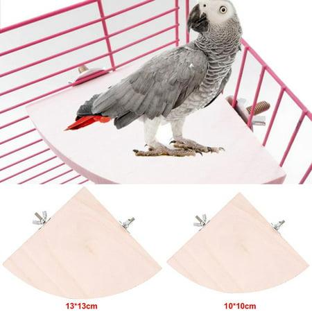 Ymiko Wooden Bird Cage Platform2Pcs Wooden Fan Shape Bird Cage Perches