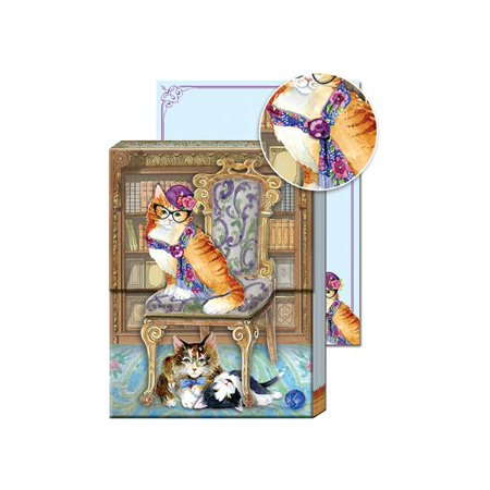 Punch Studio Note Pad Pocket Posh Pets Library Cat