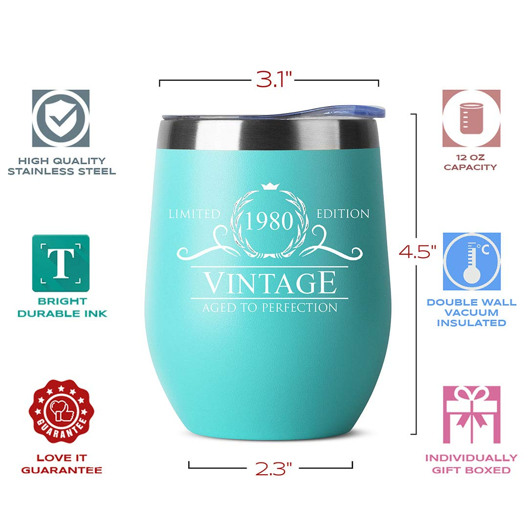 12oz Wine Tumbler HDCOOL Birthday Gifts for Women and Men 1980-40th Birthday Decorations Mom Wife Double Wall Vacuum Cup with Lid Husband Ideas Gifts for Her Dad Mint Green