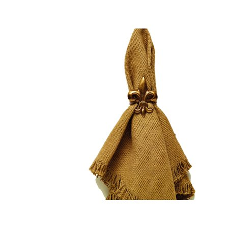 Antique Vintage Brass Gold Color Fleur De Lis Napkin Ring for Place Settings Wedding Receptions Dinner - Antiqued Brass Napkin Ring