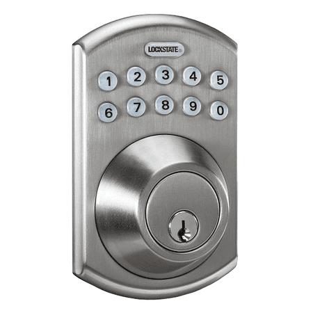 Lockstate Remotelock 5I Satin Nickel Boulder Electronic Deadbolt Lock