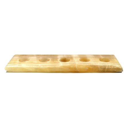 Jupiter amber stone candle holder for tea candles real for Long rectangular candle tray