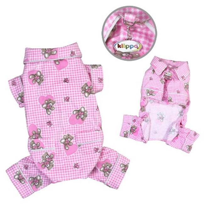 Klippo Pet KBD065LZ Adorable Teddy Bear Love Flannel Pajamas, Pink - Large