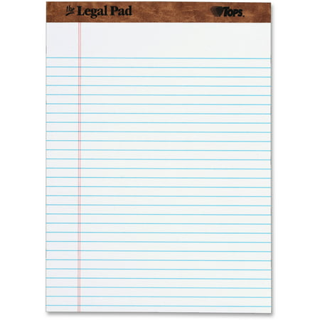 TOPS The Legal Pad Writing Pads, Legal Rule, 50 Sheets, White, -
