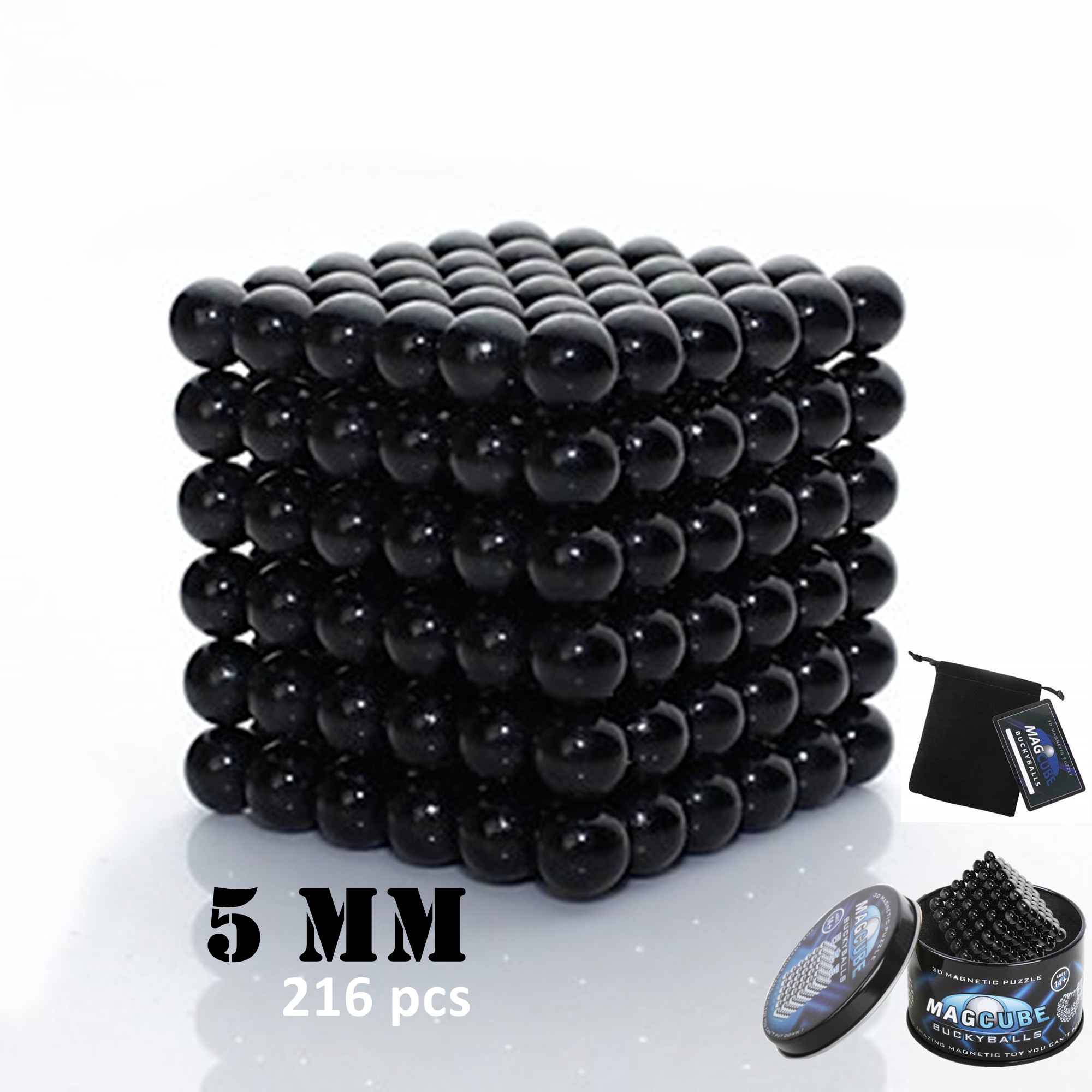 Black Color Set of 216 pcs (5 mm) Magnetic Balls Beads, Round Buildable Rollable Magnets, Stress Relief Desk... by