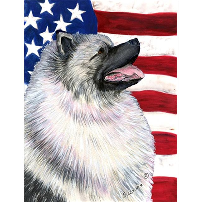 Carolines Treasures SS4051CHF 28 x 40 in. USA American Flag with Keeshond House Size Canvas Flag - image 1 of 1