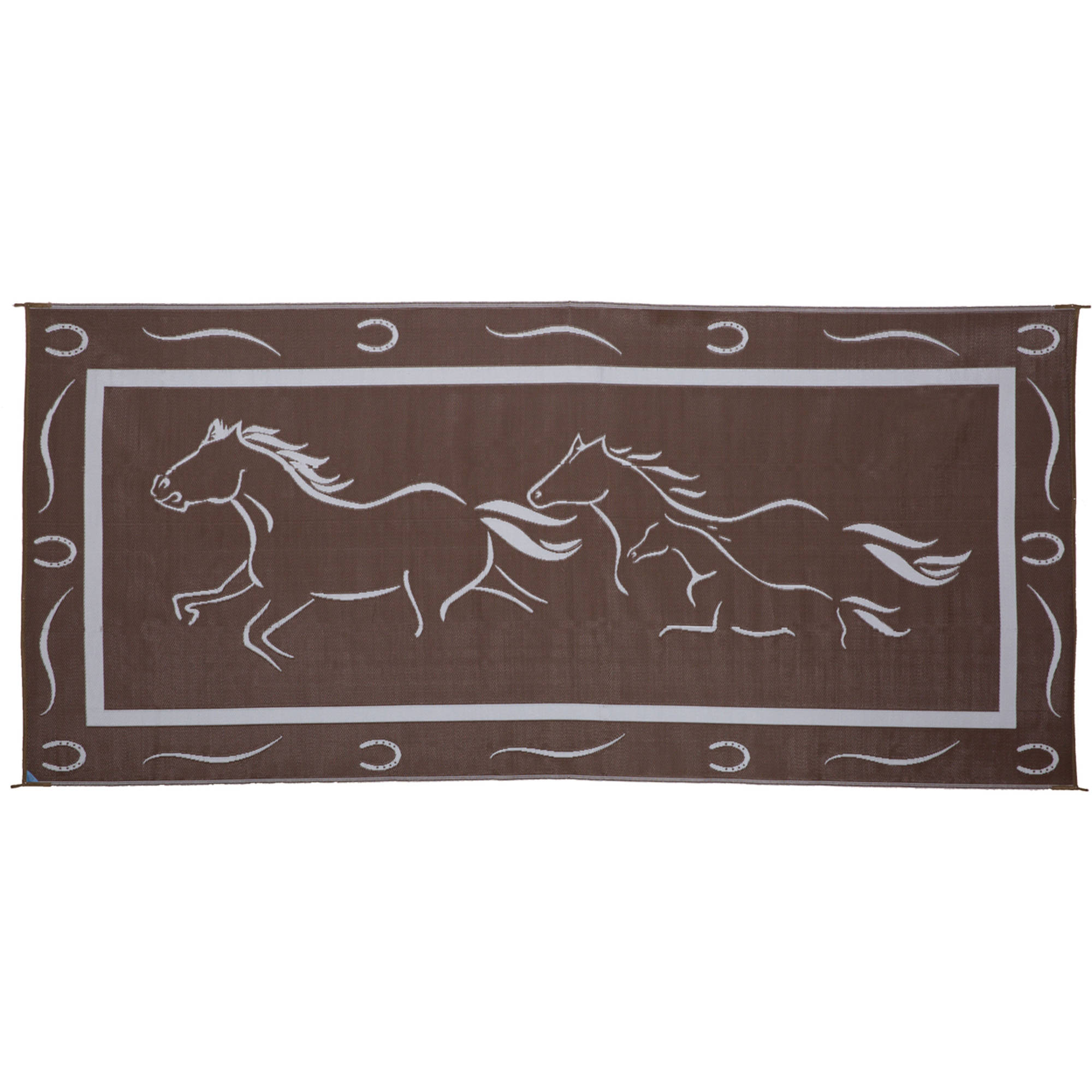 Ming's Mark GH8117 8' x 11' Galloping Horses Mat, Brown/White