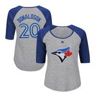 Josh Donaldson Toronto Blue Jays Majestic Women's Plus Size Name & Number Three-Quarter Sleeve Raglan T-Shirt - Gray