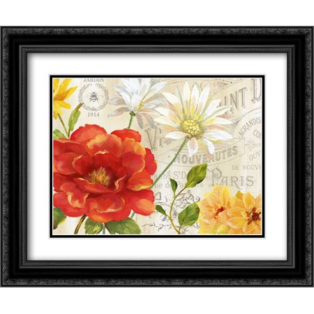 Spring Ensemble I 2x Matted 24x20 Black Ornate Framed Art Print by Nan