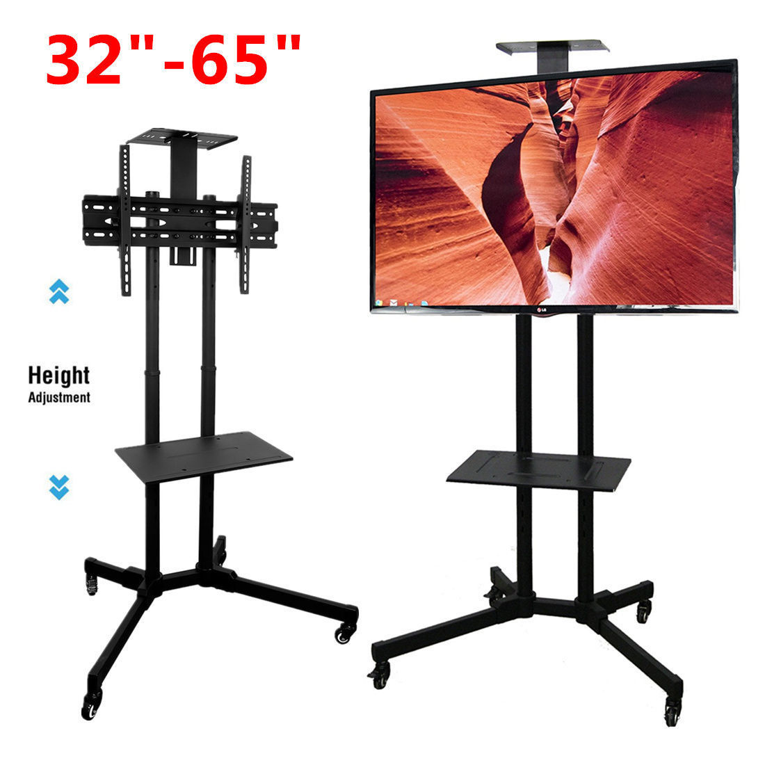 Stable TV Mobile Rack Stand Holder with Wheels for LCD LED Plasma Flat Panels Fit For 32inch to 65inch