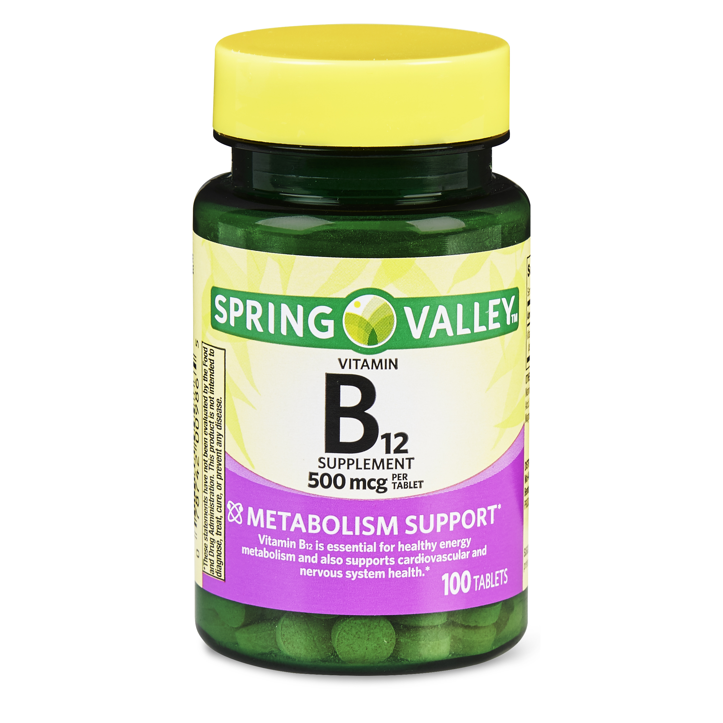(2 Pack) Spring Valley Vitamin B12 Tablets, 500 mcg, 100 Ct