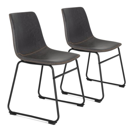 Best Choice Products Distressed Faux Leather Upholstered Vintage Dining Chairs, Home Furniture for Kitchen, Office w/ Metal Frame, Foot Pads, Decorative Stitching, Set of 2, Gray/Black ()