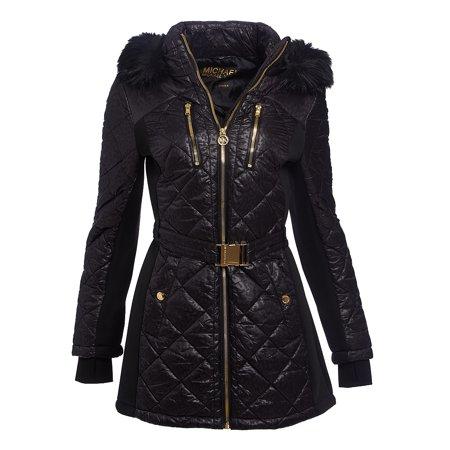 e51e9cb791 Michael Kors - Black Belted Winter Michael Kors Puffer Down Jackets for Women  Lightweight Winterwear Jacket and Coats Online - Walmart.com