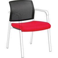 Lorell Stackable Chair Mesh Back/Fabric Seat Kit, Black, Red, 1 Each (Quantity)