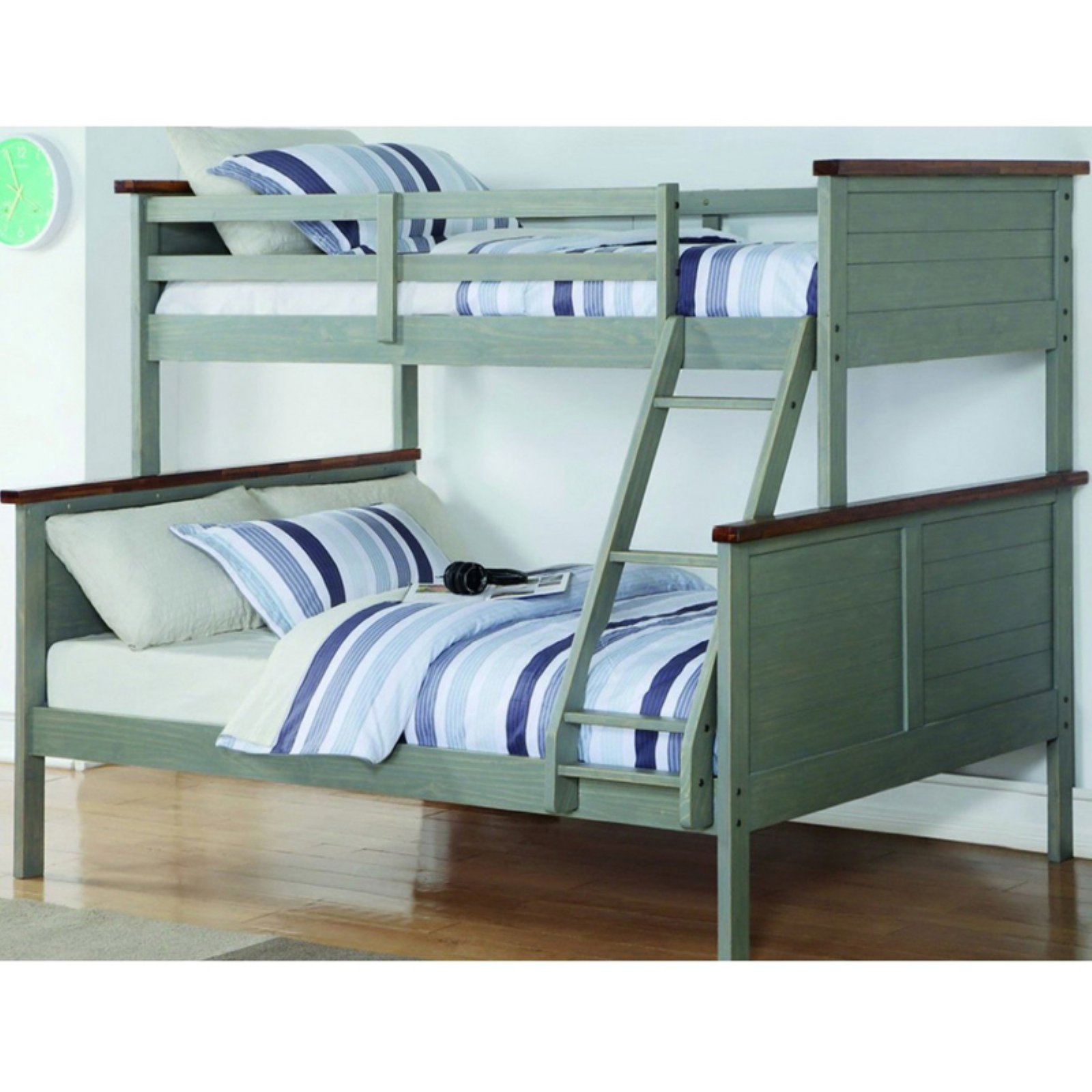 Donco Kids Twin over Full Panel Bunk Bed - Washed Denim