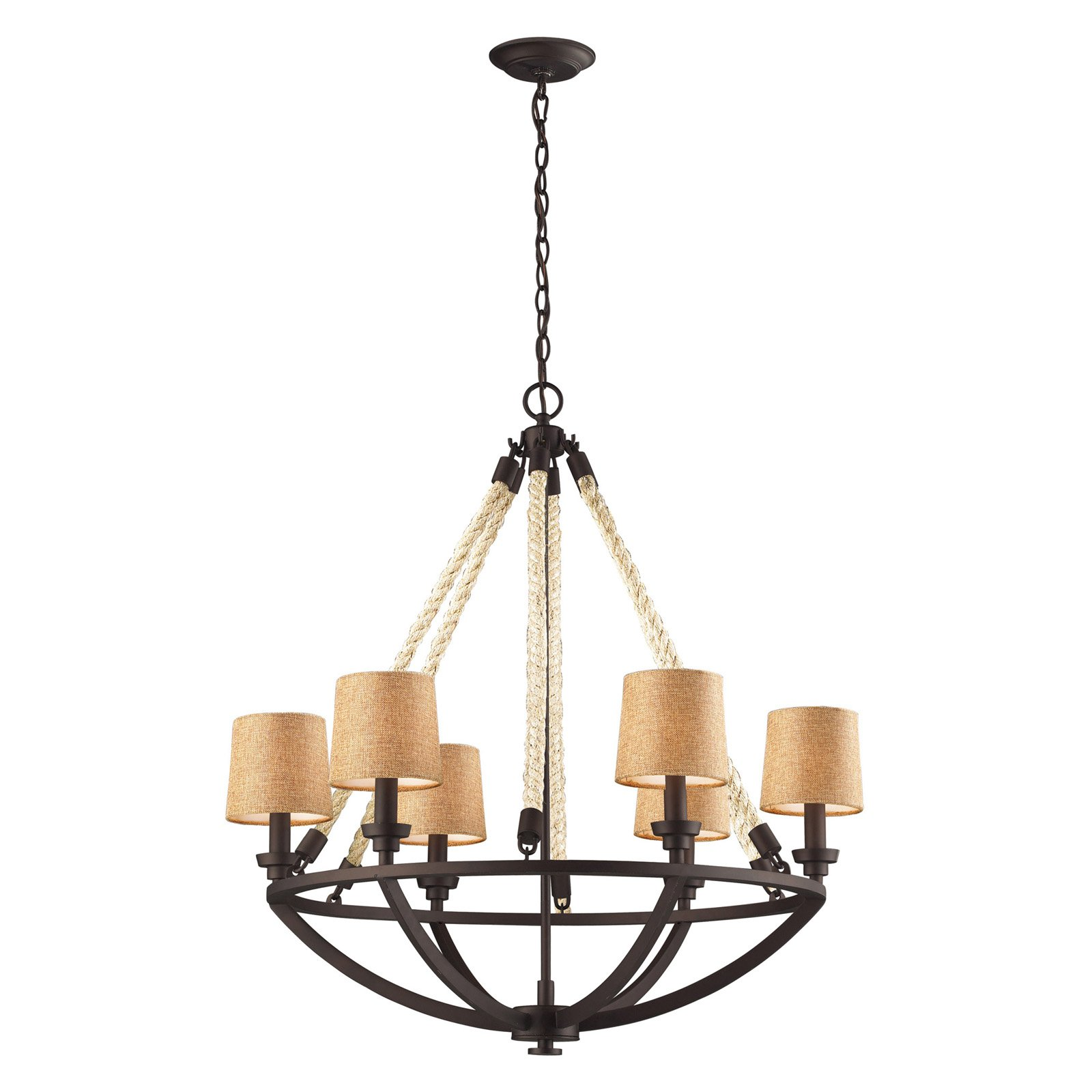 Click here to buy ELK Lighting Natural Rope 63016-6 Chandelier 30W in. Aged Bronze by Elk Lighting.