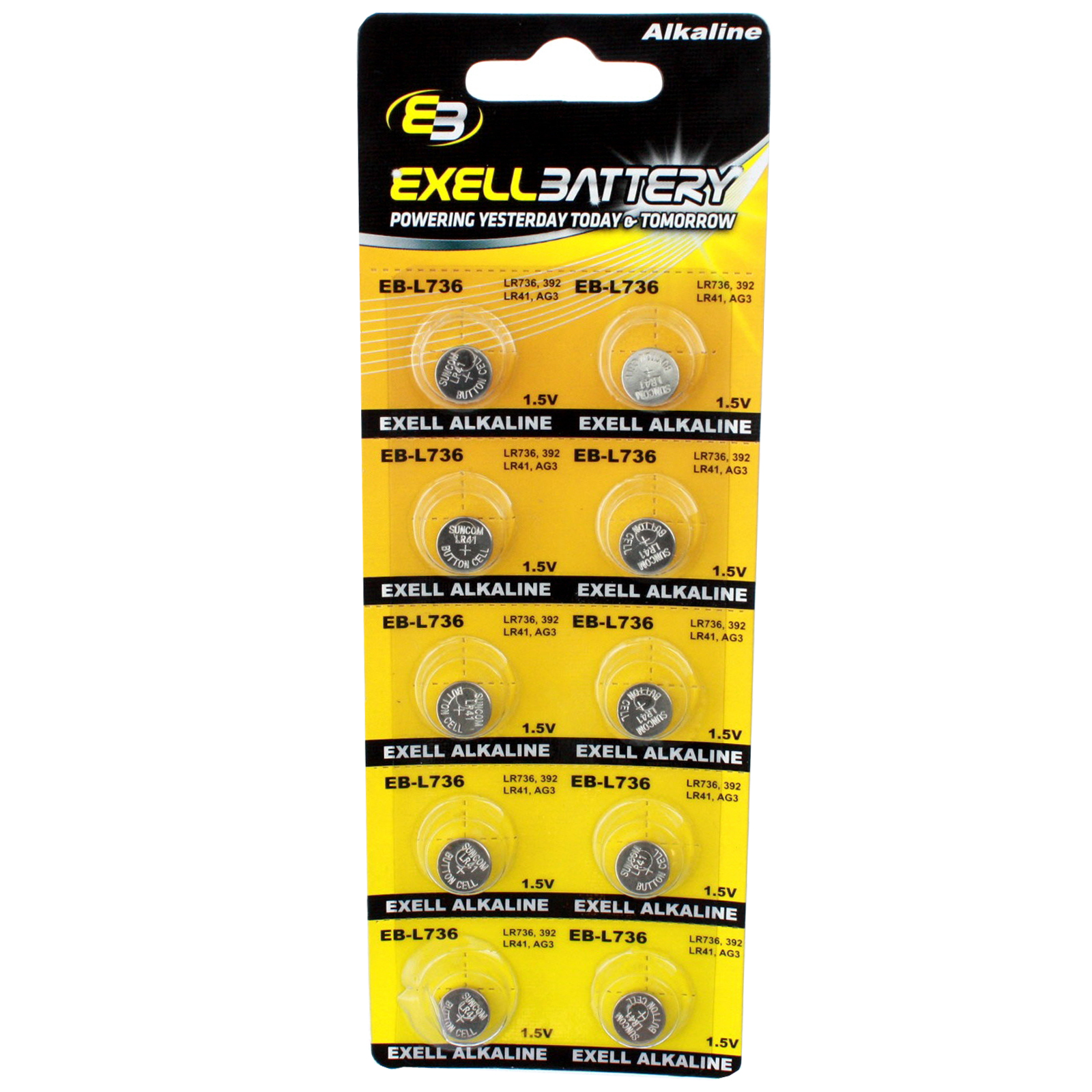 10pk Exell EB-L736 Alkaline 1.5V Watch Battery Replaces AG3 LR41 392