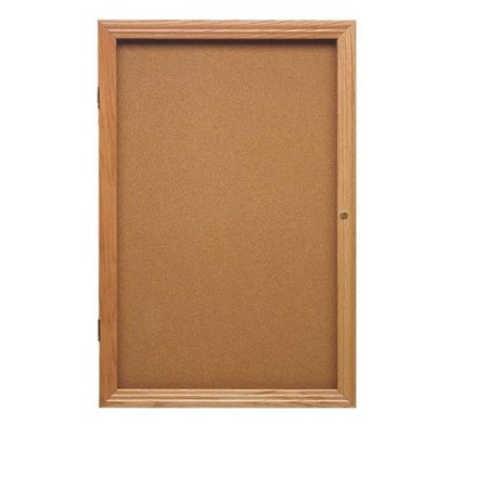 1 Door Enclosed Natural - 36 in. x 30 in. 1-Door Wood Frame Cherry Finish Enclosed Tackboard - Natural Cork