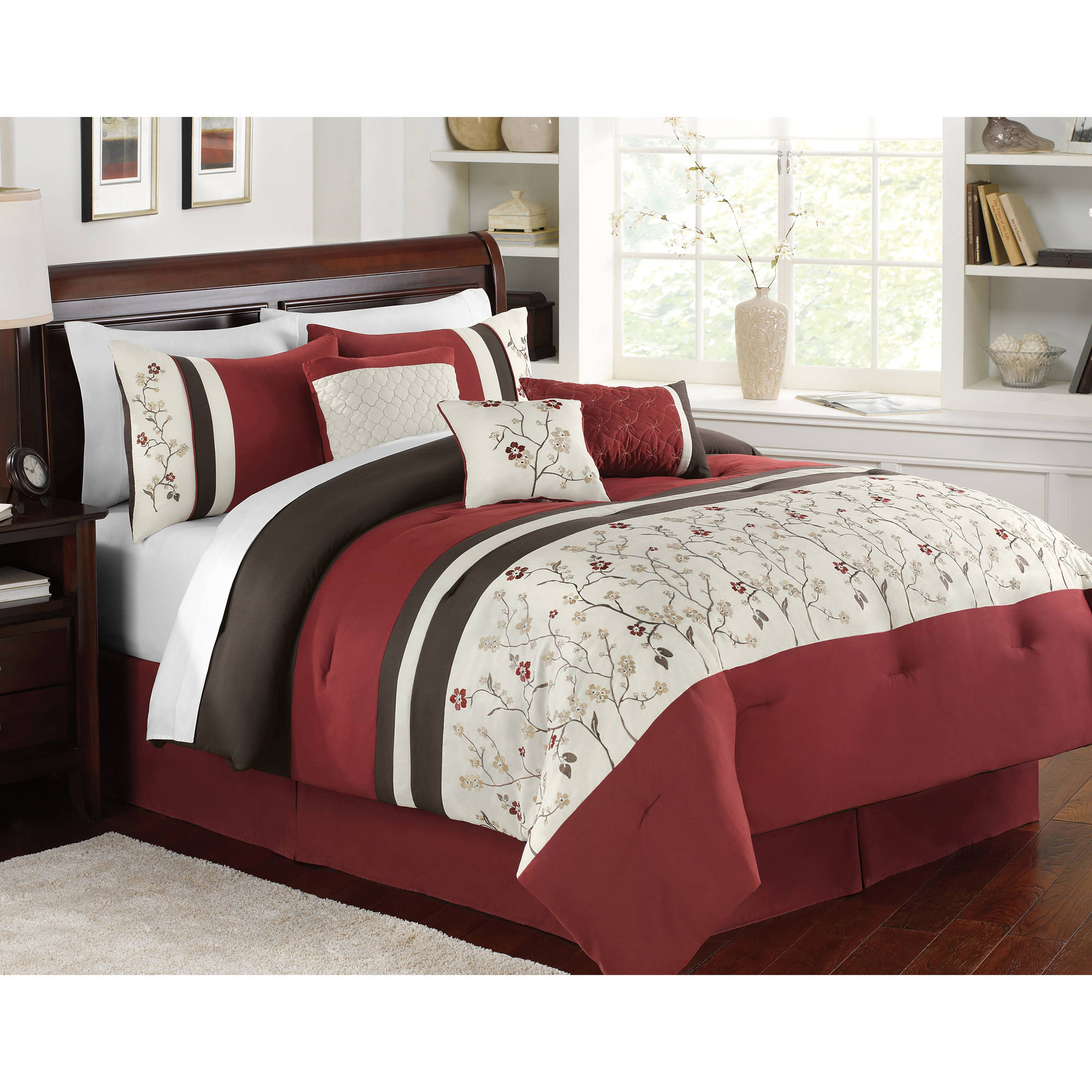 Better homes and gardens 7 piece burgundy brown vines bedding comforter set set
