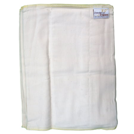 Dandelion Diapers 100% Organic Cotton Prefold Diapers - Set of 3 Prefolds - Size 2 - 12 x 16