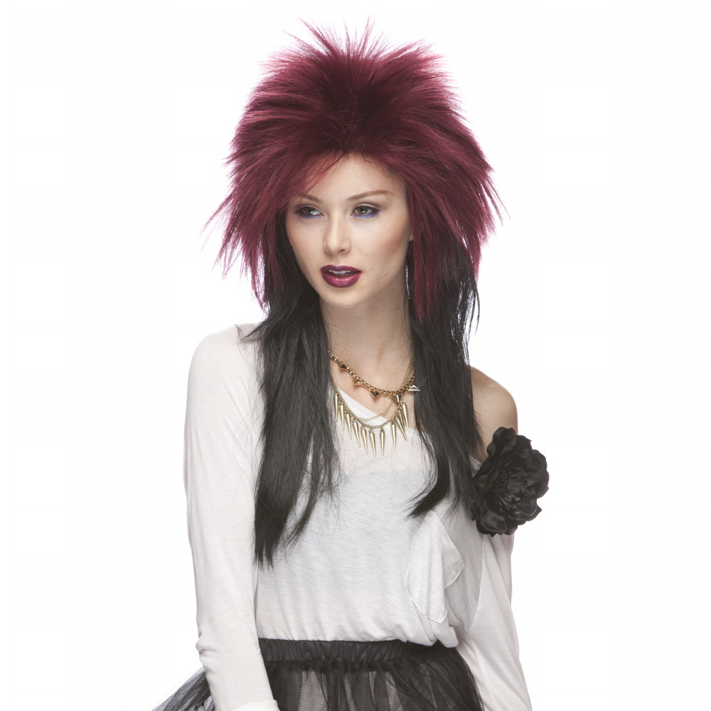 Characters Extra Long Rocker Synthetic Wig - Burgundy And Black