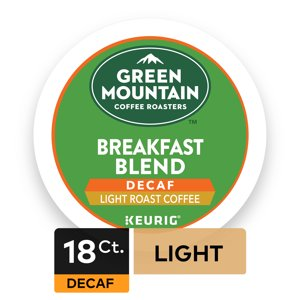 Green Mountain Coffee Roasters Breakfast Blend Decaf Keurig Single-Serve K-Cup pods, Light Roast Coffee, 18 Count