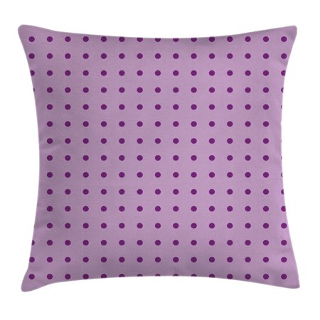 Mauve Decor Throw Pillow Cushion Cover, Trendy Polka Dots Background Nostalgic Stylized Feminine Fashion Artsy Pattern, Decorative Square Accent Pillow Case, 18 X 18 Inches, Plum Lilac, by Ambesonne
